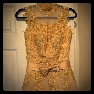Beautiful gold lace prom dress.